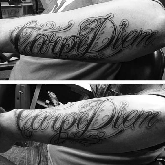 Creative Male Carpe Diem Forearm Tattoo