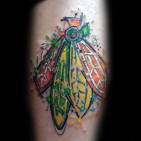 Creative Male Chicago Blackhawks Arm Tattoos