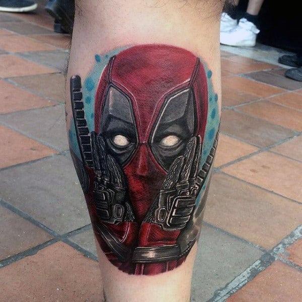 Creative Male Deadpool Leg Calf Tattoos