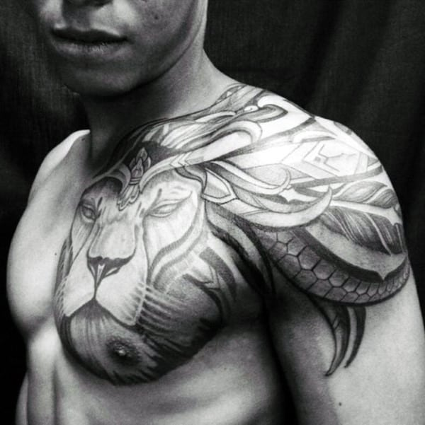 24 Tribal Shoulder Tattoo Designs Ideas: 70 Lion Chest Tattoo Designs For Men