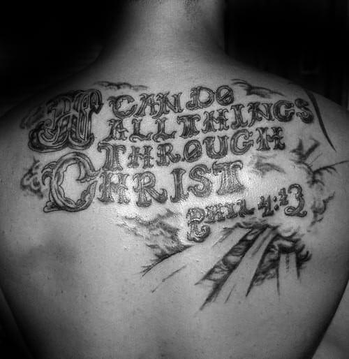 Creative Male Philippians 4 13 Upper Back Tattoo Design Ideas