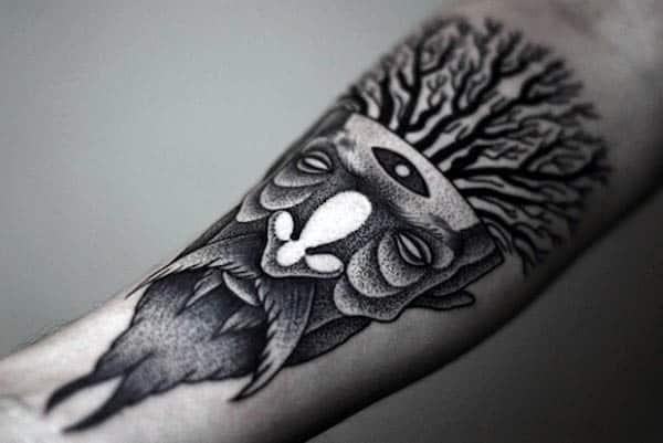 Creative Male Pointillism Inner Forearm Tattoo Designs