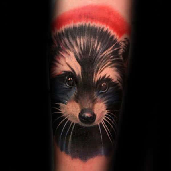 Creative Male Raccoon Watercolor Forearm Tattoo Design