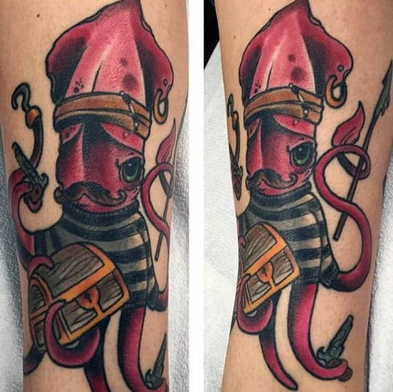 Creative Male Squid With Treasure Chest Tattoos