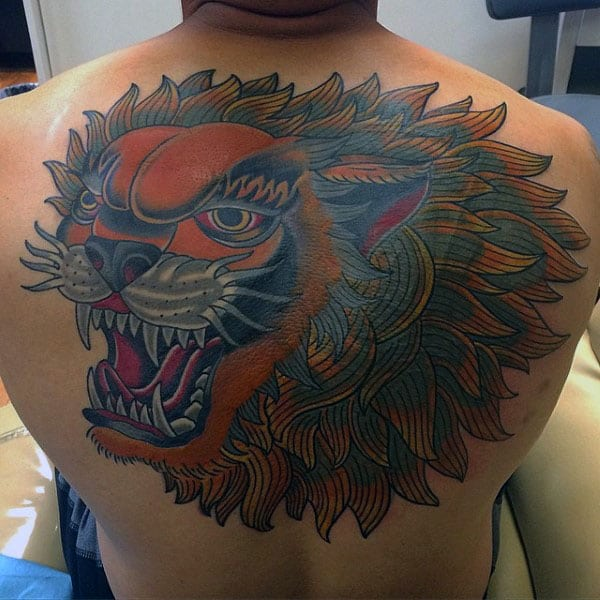 Creative Male Traditional Lion Upper Back Tattoo Ideas