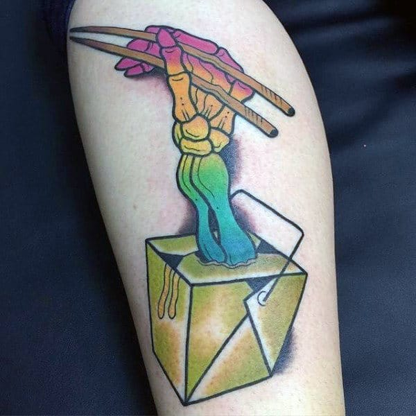 Creative Male With Colorful Skinny Hands Holding Chopsticks Food Tattoo