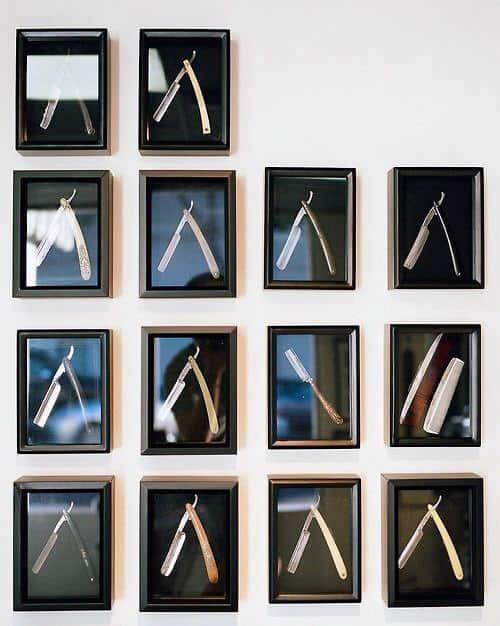Creative Man Cave Decor Framed Straight Razor Wall Art Ideas
