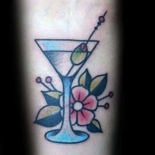 Creative Martini Glass Tattoos For Guys