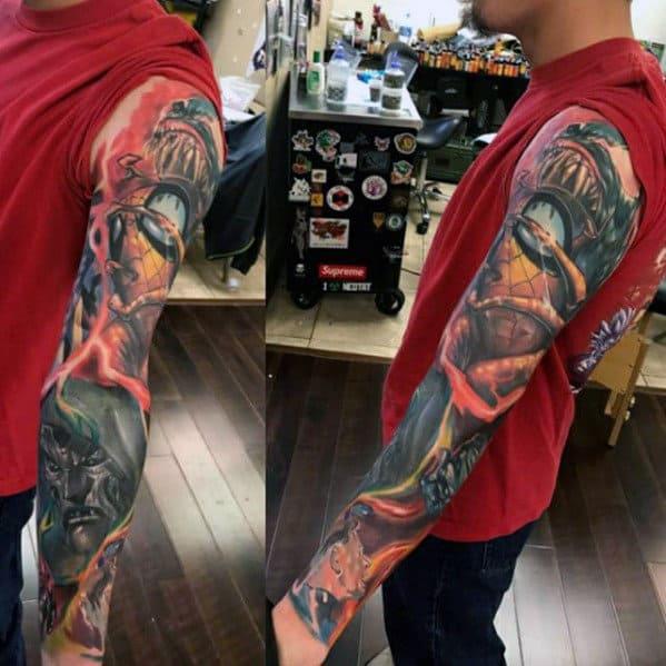 Creative Marvel 3d Guys Full Sleeve Tattoos