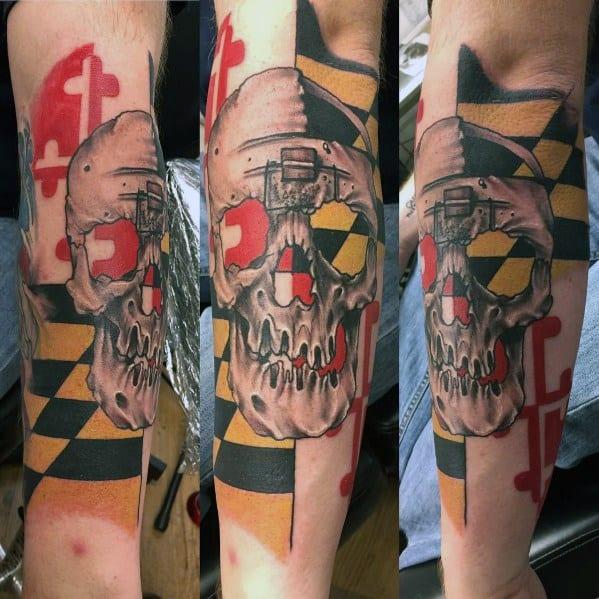 Creative Maryland Flag Tattoos For Guys