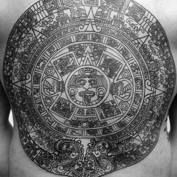 Creative Mayan Calender Tattoos For Men Full Back