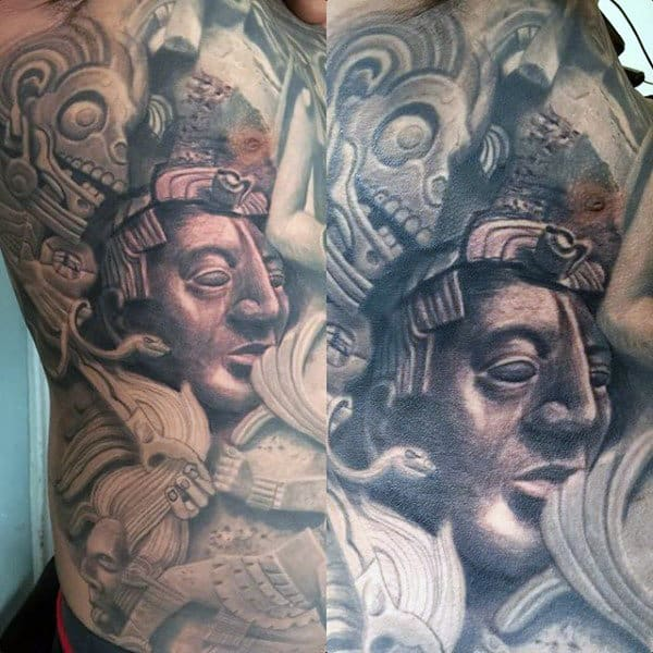 Creative Mayan Male Full Chest Tattoo Designs