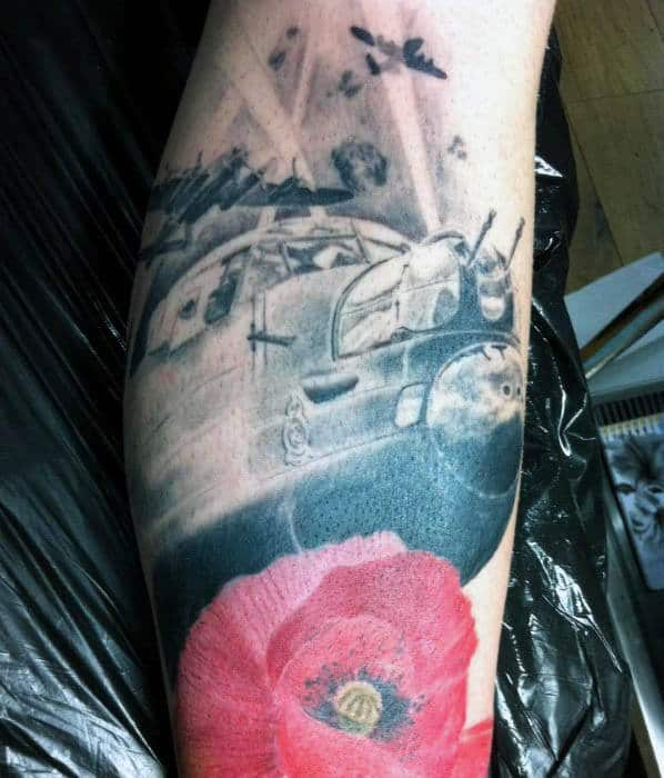 Creative Memorial Poppy Flower Air Force Plane Tattoos For Men