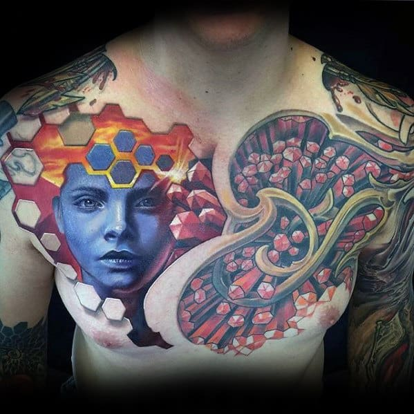 Creative Mens 3d Tattoo Design Inspiration On Chest
