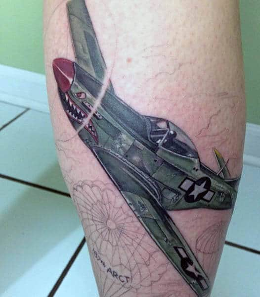 Creative Men's Airplane Tattoos On Back Of Leg
