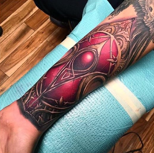 Creative Mens Armor Tattoo Designs In Red On Wrist