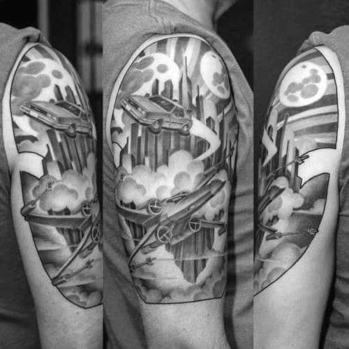 Creative Mens Artistic Back To The Future Themed Arm Tattoos