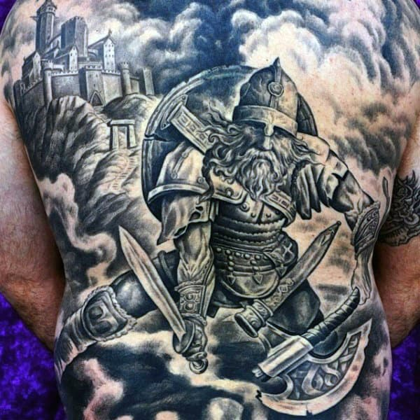 Creative Men's Back Viking Warrior Tattoo