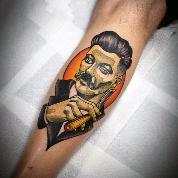 Creative Mens Barber Tattoo On Leg