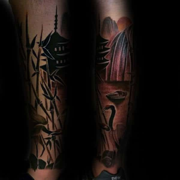 Creative Mens Black Ink Shaded Bamboo Tattoo On Forearm