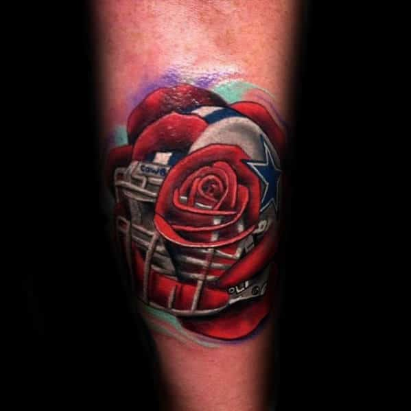 Creative Mens Dallas Cowboys Rose Flower Tattoo On Forearm