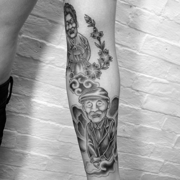 Creative Mens Forearm Tattoos Of Grandpa And Grandma