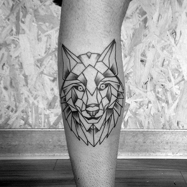 Creative Mens Geometric Wolf Leg Calf Tattoo