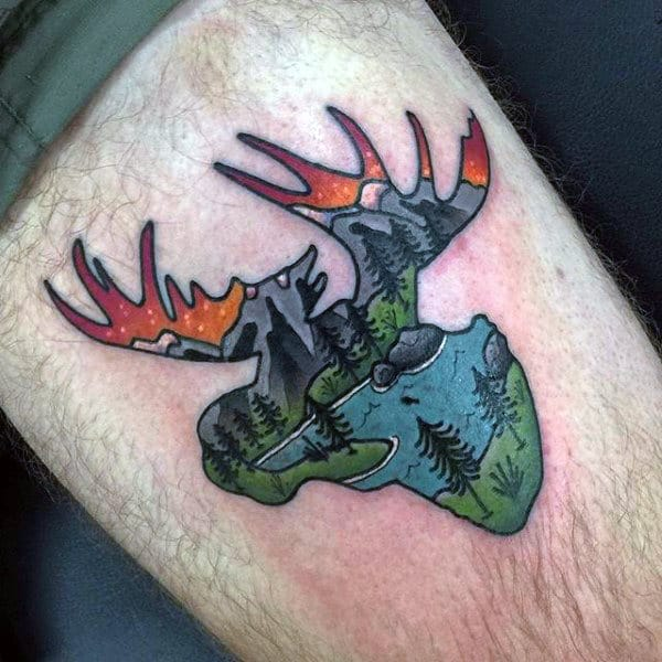 Creative Mens Nature Moose Small Tattoo On Thigh