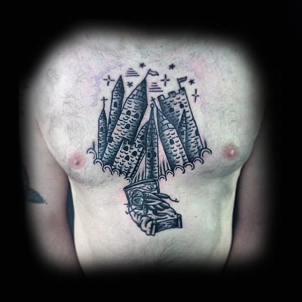 Creative Mens Outline Black Ink Castle Chest Tattoos