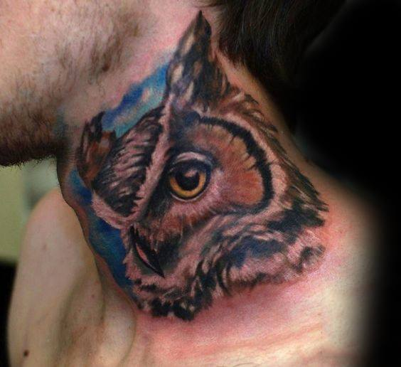 Creative Mens Owl Neck Tattoo Design Ideas