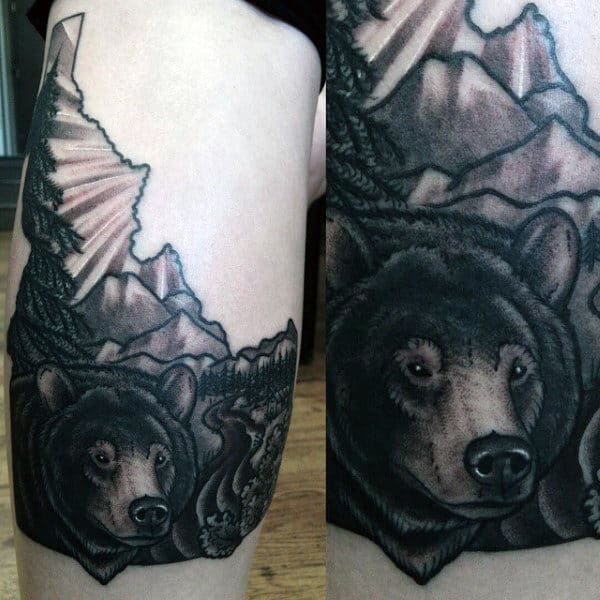Creative Men's Pine Tree Tattoo Design With Bear