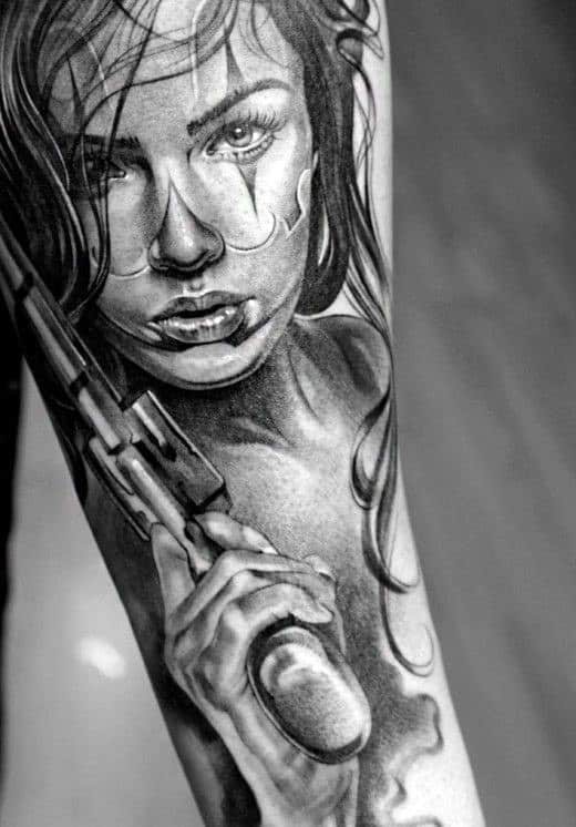 Creative Men's Pistol And Woman Tattoo On Forearm