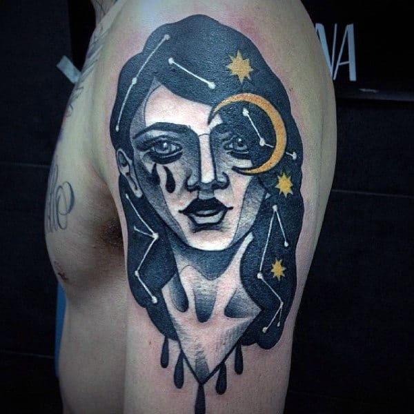 Creative Mens Potrait Constellations Upper Arm Tattoo Negative Space