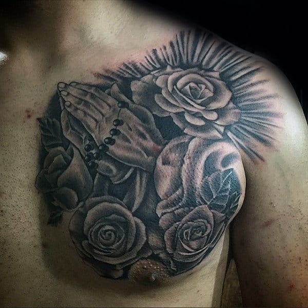 Creative Mens Rosary And Cross Tattoos On Shoulder And Upper Chest