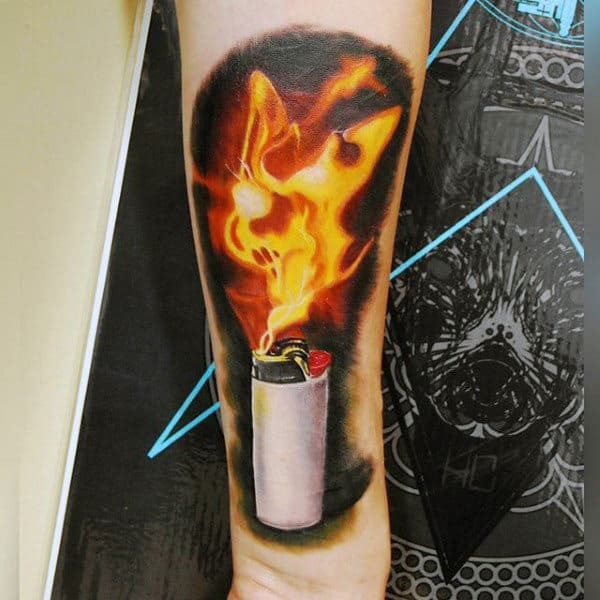 Creative Mens Tattoo Flames On Arm Of Lighter