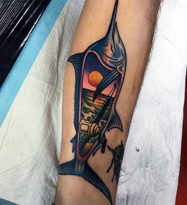 Creative Mens Tattoo Ideas With Marlin Design On Forearm