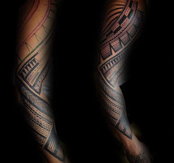 Creative Mens Traditional Samoan Tattoos Full Arm Tribal Design