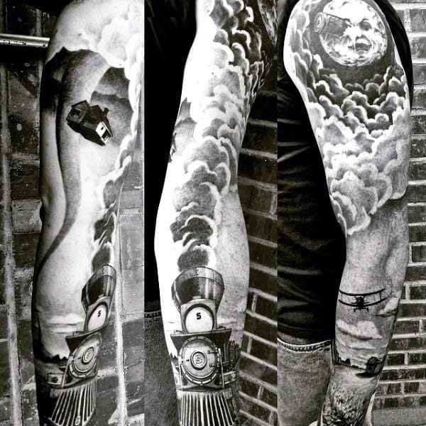 Creative Mens Train Tattoo Designs Full Sleeve