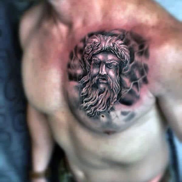Creative Mens Zeus Tattoos For Gentlemen On Upper Chest