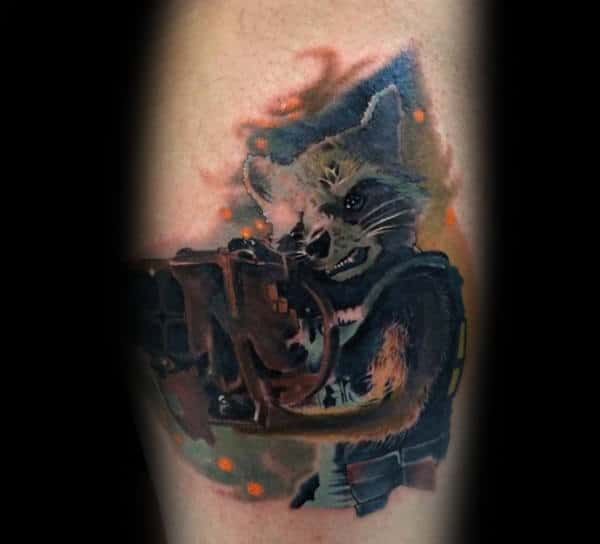 Creative Mobster Raccoon Watercolor Male Arm Tattoo