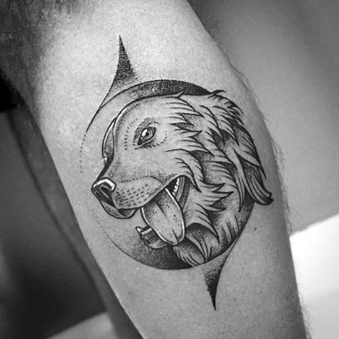 Creative Modern Dog Tattoos For Men On Leg