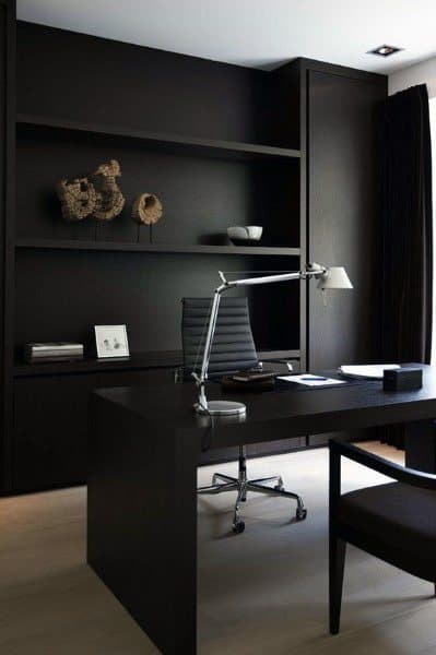 Creative Modern Home Office Designs All Black Color Scheme