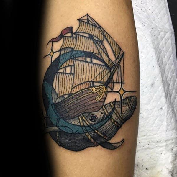 Creative Moon Whale Sailing Ship Guys Forearm Tattoo