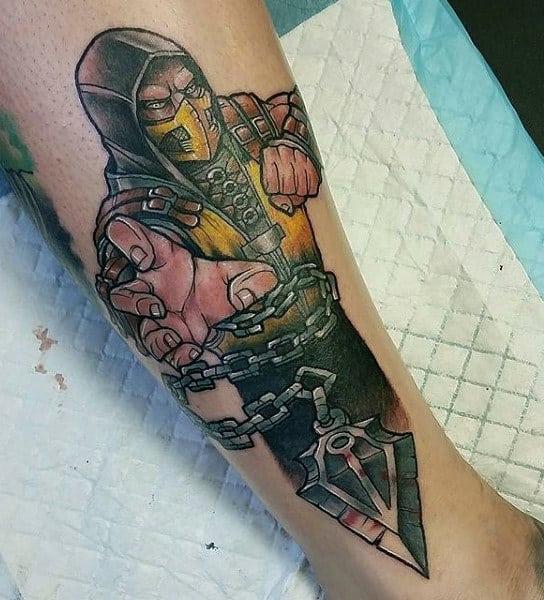 Creative Mortal Kombat Mens Lower Leg Tattoos