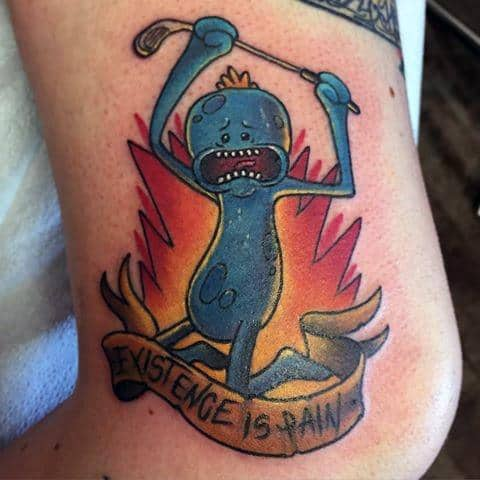 Creative Mr Meeseeks Tattoos For Guys Rick And Morty Designs