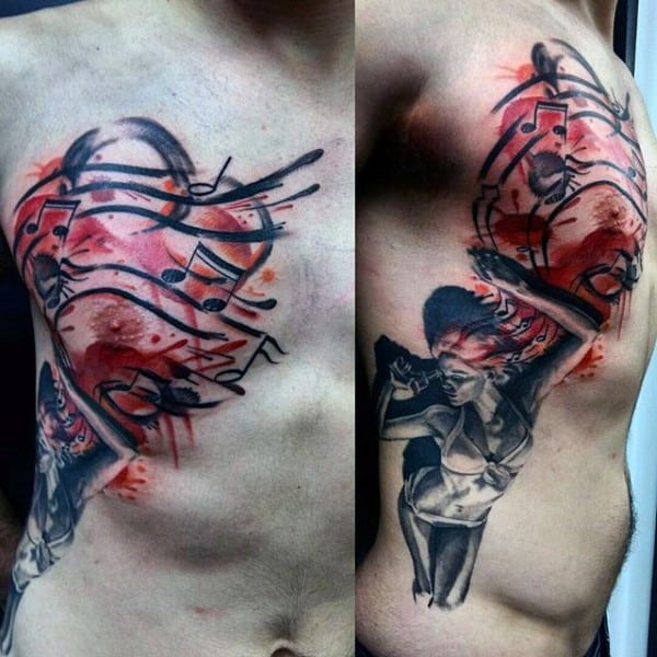 Creative Music Note Mens Female Watercolor Red Ink Tattoo On Rib Cage Side