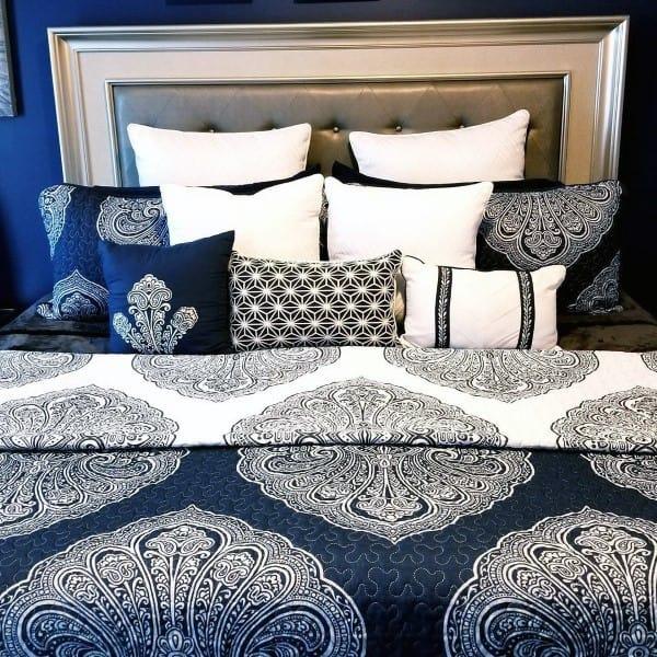 Creative Navy Bedroom Bed Pattern Ideas