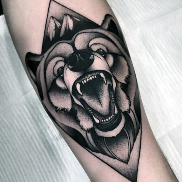 Creative Neo Traditional Bear Tattoos For Guys