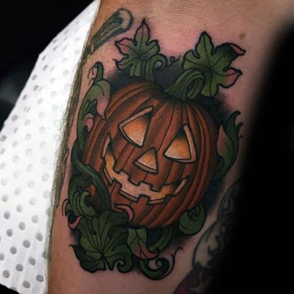 60 pumpkin tattoos for men jack o 39 lantern design ideas for Tattoos of pumpkins