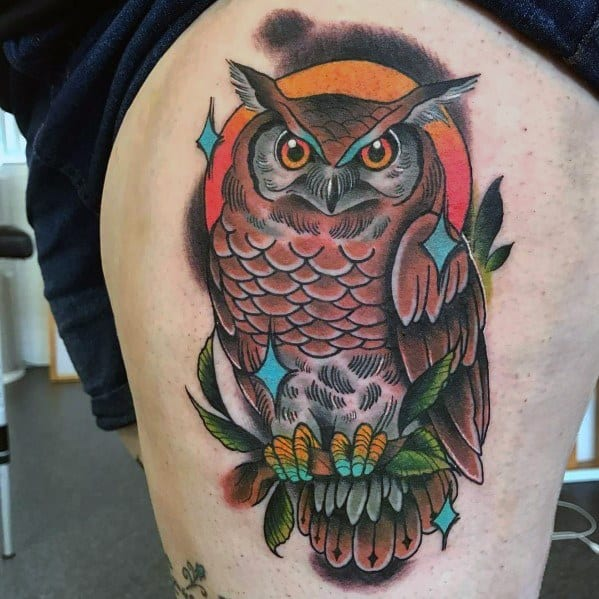 Creative Neo Traditional Owl Tattoos For Guys